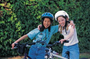 2 girls on bikes